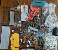 HO Scale Mixed Lot. ROAD SIGNS,cars, kits, mine, LAMPS, TELEPHONE POLES ,VINTAGE