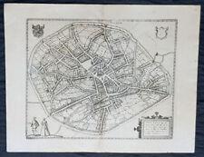 1574 Braun & Hogenberg Antique Map City View of Tienen, Flemish Brabant, Belgium