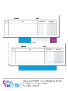 König & Ebhardt Kassenbuch 86-10201 Spalten Einnahmen/Ausgaben 40 Blatt DIN A4