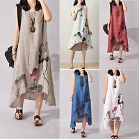 Women Summer Floral Sleeveless Tunic Long Tops Linen Beach Maxi Dress Sundress