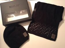BNWT 100% Auth Replay, Womens Hat And Scarf Set. Laser Cut. RRP £56.00