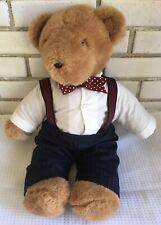 "North American Teddy Bear 21"" Stuffed Plush suspenders shirt tie '79 Eisenberg"