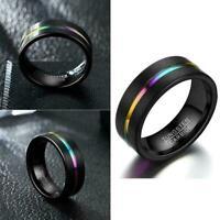 Modeschmuck Herren Frauen Schwarz Hochzeit Verlobungsband Ring Größe 6-13 R K8Q1