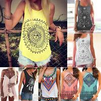 Women Boho Hippie Tank Top Summer Vest Sleeveless T Shirt Loose Casual Blouses