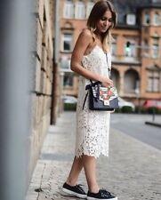 Zara vestido Maxi vestido de encaje bordado Long embroidered STRAPPY Lace dress size M