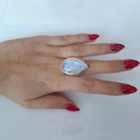 Women Natural Gemstone Rainbow Moonstone Ring Sterling Silver Water Drop Stone