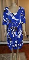 Lane Bryant Scoop Neck Short Sleeve Blue Floral Dress 26/28 NWT