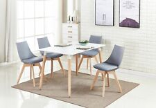 Dining Set 4 x Lanzo Padded Dining Chairs & White Halo Dining Table New