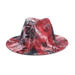 Vintage Men Women Felt Hat Fedora Trilby Panama Hats Wide Brim Gangster Jazz Cap