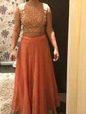 Peach Gold Lengha Sari Saree Mongas Kirans Bollywood