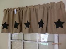 Delaware Star Burlap Valance w/ Black Stars 16x72 Matches Delaware Star Bedding