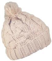 Best Winter Hats Thick Cuffed Cable & Rib Knit Beanie W/Pom Pom - Khaki
