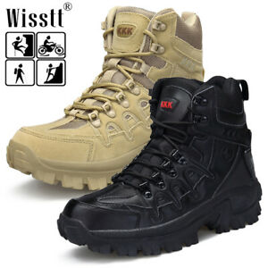 Men SWAT Tactical Leather Boots Military Combat Mesh Desert Outdoor Patrol Shoes