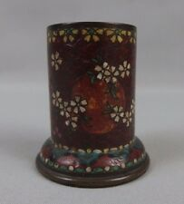 antique chinese / japanese cloisonne match holder striker 19th C. flowers