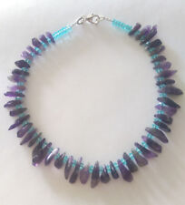 Sterling Silver Purple Amethyst/Blue Topaz beaded Statement Necklace