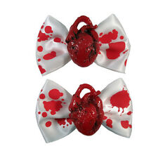 New Gothic Punk White Red Heart Blood Splatter Hair Bows Accessories Christmas