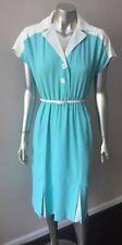 Mod Gogo Vintage 50s Secretary Pale BLue White Short Crepe Dress Size M