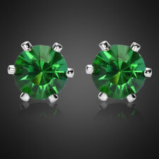 Fashion Jewelry Lady Round Cut Green Emerald White Gold Plated Stud Earrings New