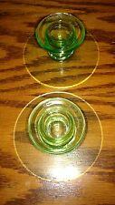 Vintage  Green Depression Vaseline Glass Candle Stick Holders