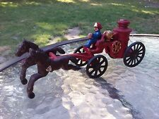 Cast Iron Horse Drawn Steam Fire Pumper Engine Toy Vintage Two Piece