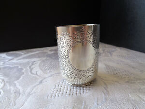 Solid Silver 1888 Antique Imperial Russian Vodka Cup, great condition.