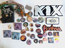 Big Lot of 40 Pins / Buttons & Patches & Other Items - 1980s Heavy Metal / Rock