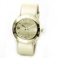 NEW MARC JACOBS AMY GOLD TONE,PALE SHINY METALLIC LEATHER BAND WATCH-MBM8627