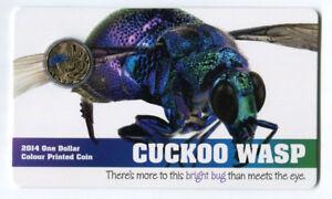 "2014 $1 Uncirculated Coin - Bright Bug: ""Cuckoo Wasp."""