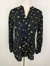 Old Navy Women's Black Floral Top Long Sleeves Ruffled Neck Button Front Size M