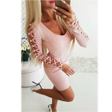 Women's Bandage Bodycon Long Sleeve Evening Party Cocktail Club Short Mini Dress