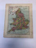 Map 1935: England & Wales , Northern England Original Vintage Print 85 Years Old