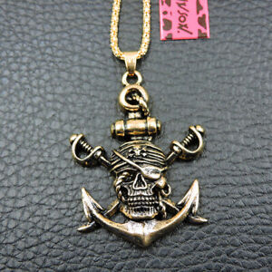 Fashion Gold Alloy Enamel Pirate Skull Pendant Betsey Johnson Chain Necklace