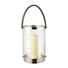 Endon Chandler lantern glass & polished stainless steel 450mm H x 210mm dia