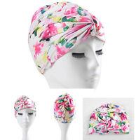 Women Vintage Floral Flower Bathing Hat Cap Adult Swimming Swim Hat Long hair