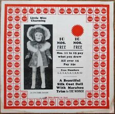 Trade Stimulator 1930s Punch Card w/Toy Doll Prize, 'Little Miss Charming'
