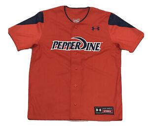 Pepperdine Waves Authentic Men's Medium M Under Armour Baseball Jersey Orange