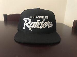 NWT Retro Los Angeles Raiders Mitchell Ness Script black snapback hat NWA