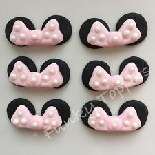 Edible Minnie Mouse Disney Cupcake Cake Decorations Baby Pink Glitter Bows Ears