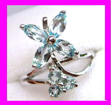 SOLID STERLING SILVER - GENUINE SKY BLUE TOPAZ RING size 8