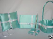Pool Aqua Blue Flower Girl Basket Pillow Guest Book Pen