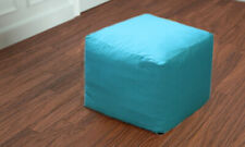 "Vintage Handmade 18"" Square Plain Ottoman Pouf Cover Indian Footstool Seat Case"