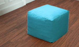 """Indian Vintage Handmade 16"""" Square Plain Ottoman Pouf Cover Footstool Seat Cover"""