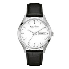 Caravelle 43C113 Men's Quartz White Dial Black Leather Band Watch