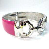 Pink Enamel Belt Buckle Hinged Wide Cuff Bracelet Silver Tone Metal Horsebit