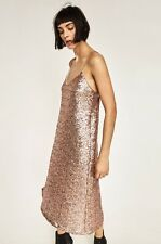 ZARA NEW AW 2016 Collection LONG SEQUINNED DRESS 2298/221 SIZE M Nude Pink