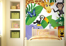 Wall mural photo wallpaper for baby's room Wild jungle animals nursery decor
