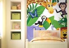 Papier peint photo mural pour pour bébé chambre Sauvage animaux de la jungle