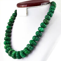 847.50 CTS NATURAL ROUND CARVED GREEN UNTREATED EMERALD BEADS NECKLACE (RS)