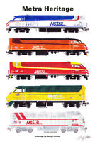 "Metra Heritage Locomotives 11""x17"" Poster by Andy Fletcher signed"