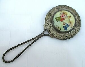 ANTIQUE PORCELAIN ASIAN SMALL HAND METAL MIRROR JAPAN CHINA VICTORIAN STYLE READ
